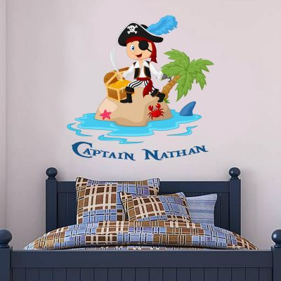 Pirate Wall Sticker Island Personalised Name