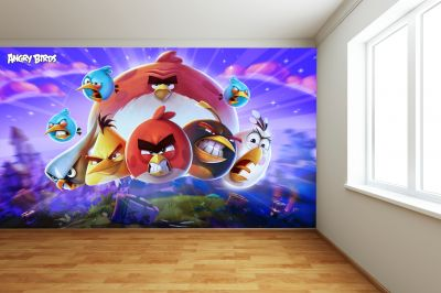 Angry Birds Full Wall Mural - Night Image