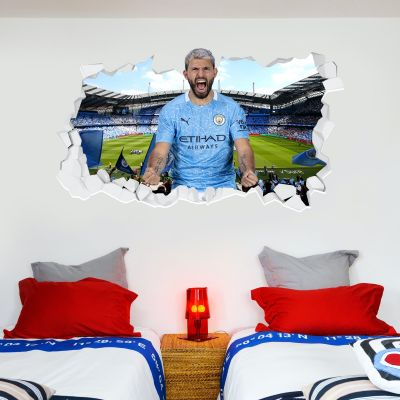 Manchester City Football Club - Kun Aguero 20/21 Smashed Wall Mural + Bonus Wall Sticker Set