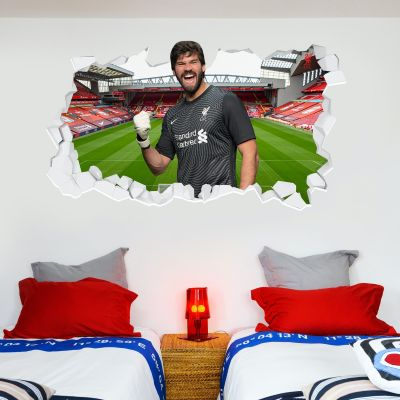 Liverpool Football Club Allison 20/21 Smashed Wall Mural + Badge Decal Set