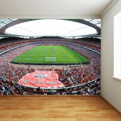 Arsenal Emirates Stadium Full Wall Mural - Day Time Match Behind The Goals View