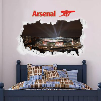 Arsenal Football Club - Smashed Emirates Stadium Outside Lights View + Gunners Wall Sticker Set