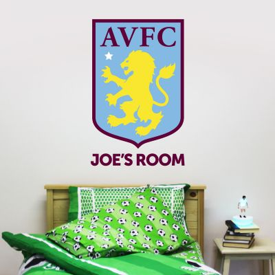 Aston Villa Football Club Badge & Personalised Name Wall Sticker