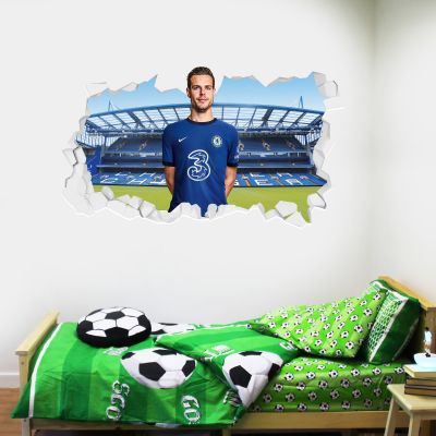 Chelsea Football Club - Cesar Azpilicueta 20/21 Broken Wall Mural + Blues Wall Sticker Set