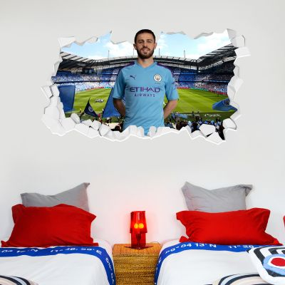 Manchester City Football Club - Bernardo Silva Smashed Wall Mural + Bonus Wall Sticker Set
