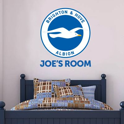 Brighton and Hove Albion FC Personalised Name and Crest Wall Sticker