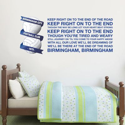 Birmingham City F.C. - Crest & 'Keep Right On To The End' Song + Blues Wall Sticker Set