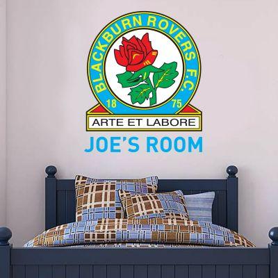 Blackburn Rovers F.C. - Personalised Name & Crest + Riversiders Wall Sticker Set