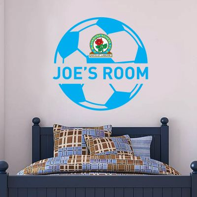 Blackburn Rovers F.C. - Personalised Name & Ball Design + Riversiders Wall Sticker Set