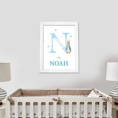 Peter Rabbit Print - Blue Letter and Personalised Name