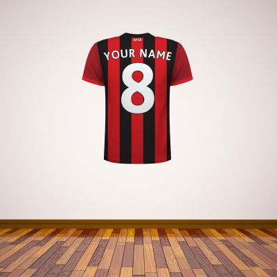 AFC Bournemouth - Personalised Name and Number Shirt Wall Sticker +  Decal Set