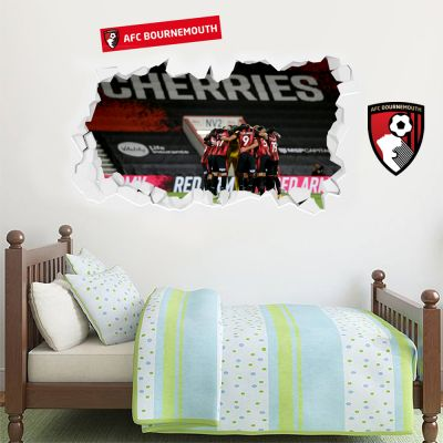 AFC Bournemouth - Smashed Wall Mural Team Huddle + Cherries Wall Sticker Set