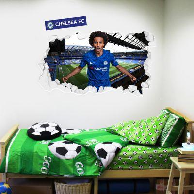 Chelsea Football Club - Willian Broken Wall Mural + Blues Wall Sticker Set
