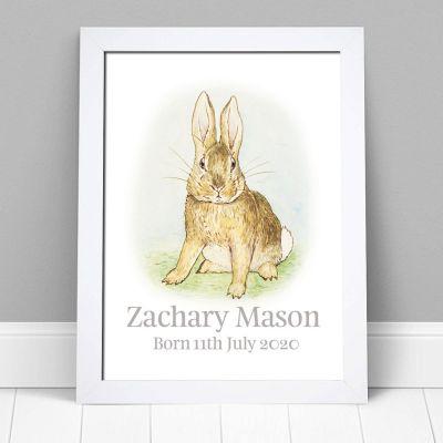 Peter Rabbit Print - Bunny Personalised Name & Date Print