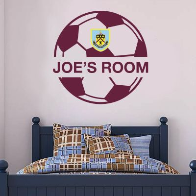 Burnley Football Club - Ball Design & Personalised Name Wall Art + Clarets Wall Sticker Set
