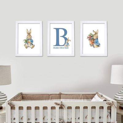 Peter Rabbit Print - Carrot and Flowers Personalised Letter and Name Set of 3 Prints