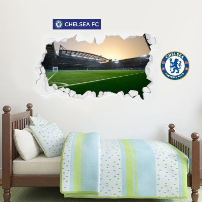 Chelsea Football Club - Smashed Stamford Bridge Stadium (Evening) Wall Mural + Blues Wall Sticker Set