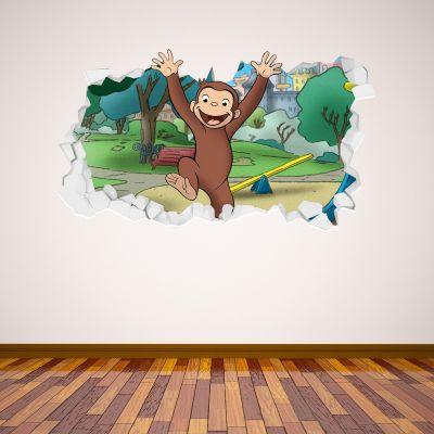 Curious George - Jumping Broken Wall Sticker