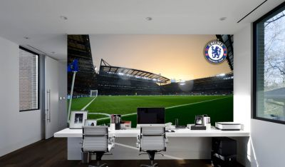 Chelsea FC - Stamford Bridge Stadium Full Wall Mural - Inside Night Time