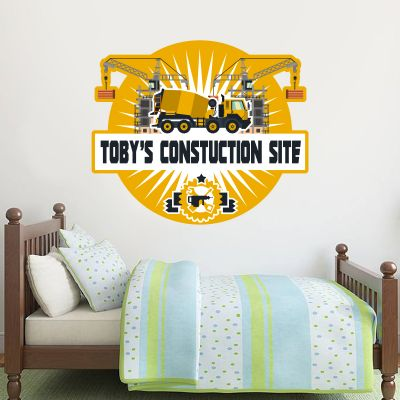 Construction Site Personalised Name Wall Sticker