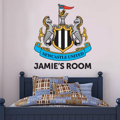 Newcastle United Football Club - Personalised Crest and Name + Toons Wall Sticker Set