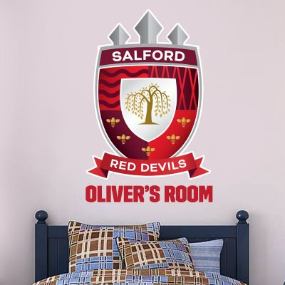 Salford Red Devils Rugby Club Personalised Name Crest Wall Sticker
