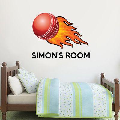 Cricket Ball & Name Wall Sticker