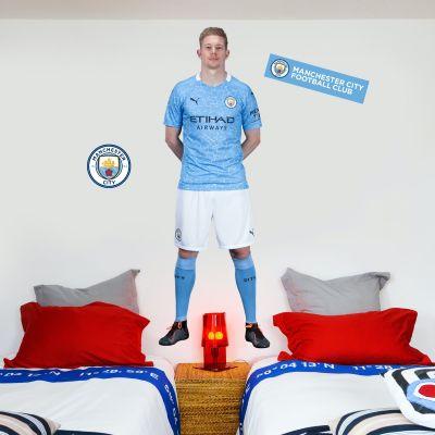 Manchester City FC - Kevin De Bruyne 20/21 Player Decal + Bonus Wall Sticker Set