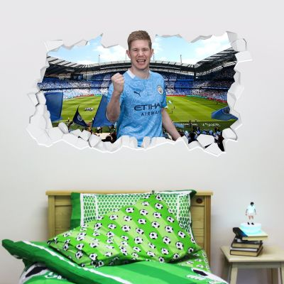 Manchester City Football Club - Kevin De Bruyne 20/21 Smashed Wall Mural + Bonus Wall Sticker Set