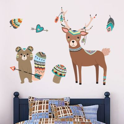 Native Wildlife - Deer & Racoon Wall Sticker Set