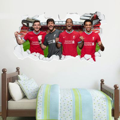 Liverpool Football Club Defensive Four 20/21 Smashed Wall Mural + Badge Decal Set
