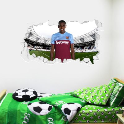 West Ham United Football Club - Issa Diop Smashed Wall Mural + Hammers Wall Sticker Set