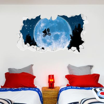 E.T. the Extra-Terrestrial Wall Sticker - Moon Bicycle Broken Wall
