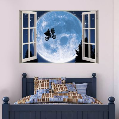 E.T. the Extra-Terrestrial Wall Sticker - Moon Bicycle Window
