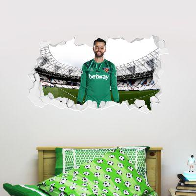 West Ham United Football Club - Lukasz Fabianski Smashed Wall Mural + Hammers Wall Sticker Set