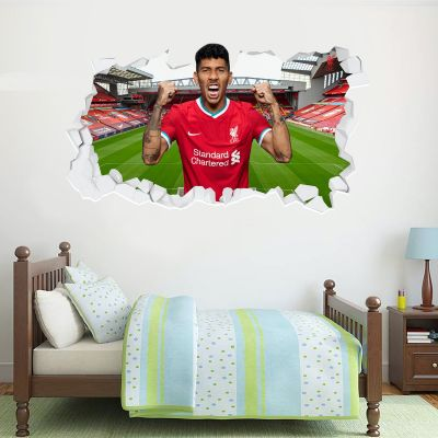 Liverpool Football Club Roberto Firmino 20/21 Smashed Wall Mural + Badge Decal Set