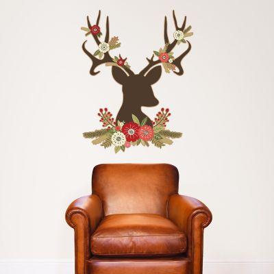 Christmas Floral Reindeer Wall Sticker