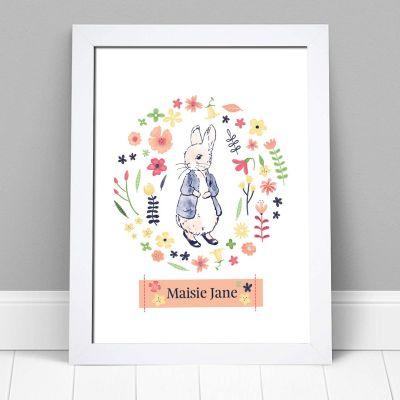 Peter Rabbit Print - Flower Circle Personalised Name Print Baby Nursery Art