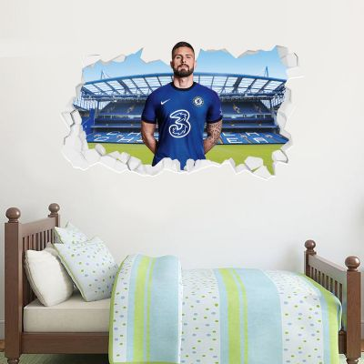 Chelsea Football Club - Olivier Giroud 20/21 Broken Wall Mural + Blues Wall Sticker Set