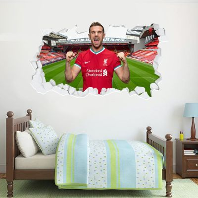 Liverpool Football Club Jordan Henderson 20/21 Smashed Wall Mural + Badge Decal Set