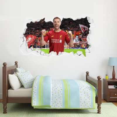 Liverpool Football Club Jordan Henderson Smashed Wall Mural + Badge Decal Set
