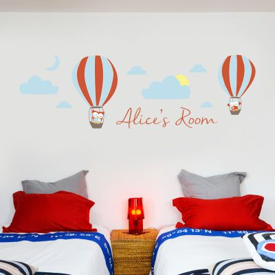 Hot Air Balloons Personalised Name Wall Sticker