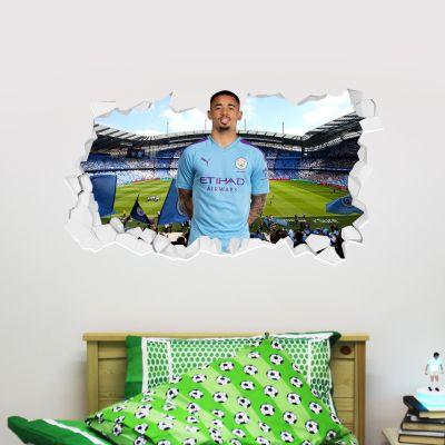 Manchester City Football Club - Gabriel Jesus Smashed Wall Mural + Bonus Wall Sticker Set