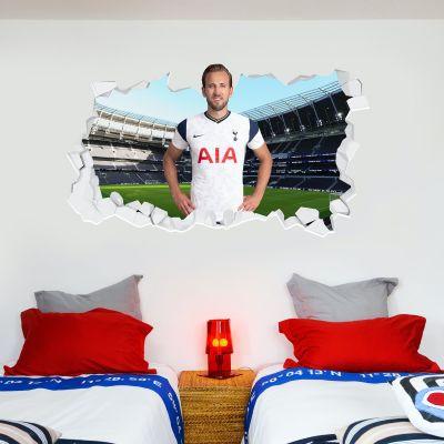 Tottenham Hotspur Football Club - Harry Kane 20/21 Broken Wall Sticker + Spurs Wall Sticker Set