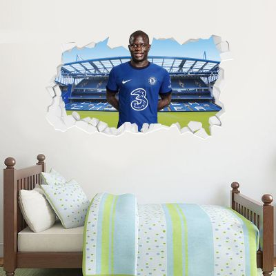 Chelsea Football Club - N'Golo Kante 20/21 Broken Wall Mural + Blues Wall Sticker Set
