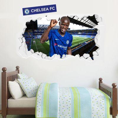 Chelsea Football Club - N'Golo Kante Broken Wall Mural + Blues Wall Sticker Set
