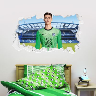 Chelsea Football Club - Kepa 20/21 Broken Wall Mural + Blues Wall Sticker Set