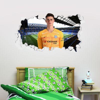 Chelsea Football Club - Kepa Broken Wall Mural + Blues Wall Sticker Set