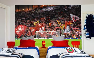 Liverpool FC Anfield Stadium Full Wall Mural - The Kop & Flags image