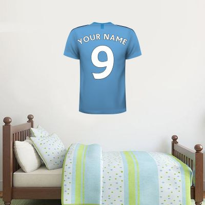 Manchester City Football Club - Personalised 19/20 Football Shirt Wall Sticker + Man City Crest Set